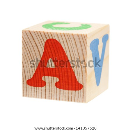 Wooden block with letter A, isolated on white background - stock photo
