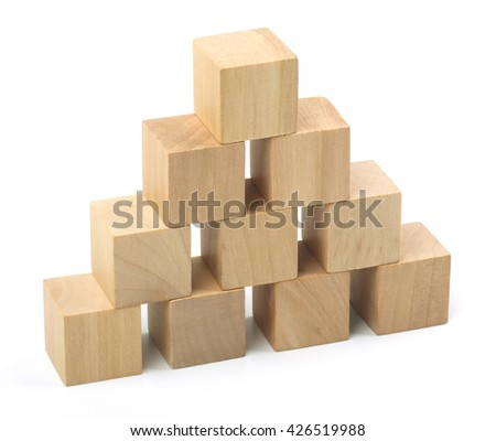 Wooden blocks are isolated on white background.