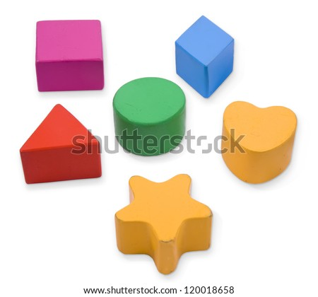 Wooden blocks, different primary shapes and colors for children - stock photo
