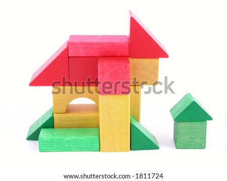 wooden blocks - house isolated on white