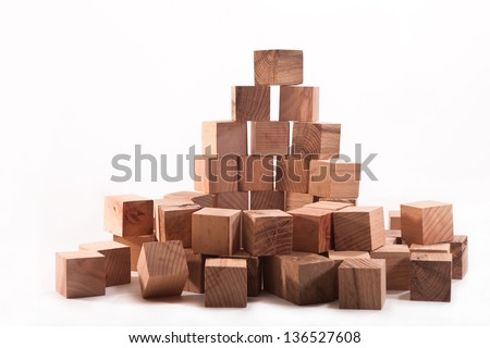 Wooden blocks of beech and oak on white background - stock photo