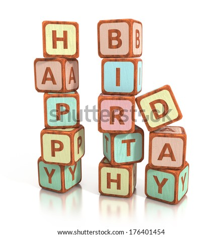 wooden blocks spell happy birthday, isolated on white background. 3d illustration - stock photo
