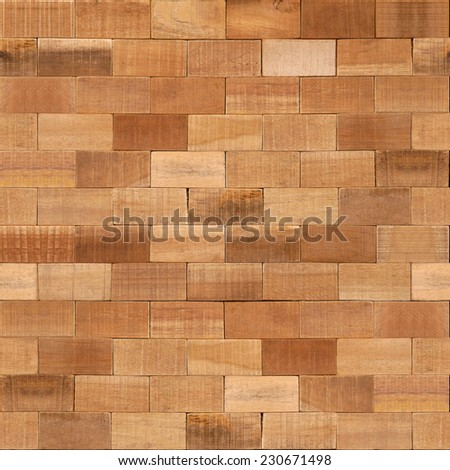 Wooden blocks stacked for seamless background - stock photo
