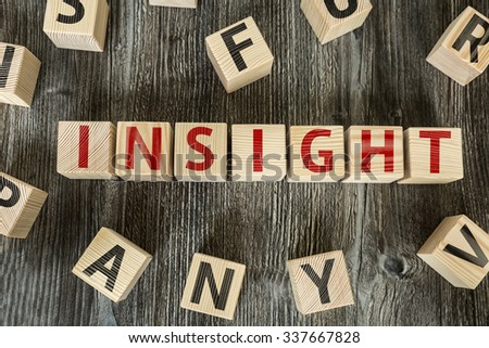 Wooden Blocks with the text: Insight - stock photo
