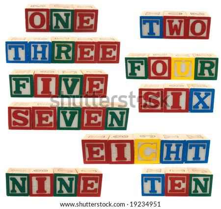 wooden blocks with words  numbers on white background