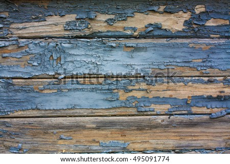 Wooden blue ancient texture painted with aged color.