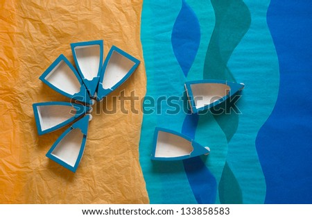 Wooden Blue Boats