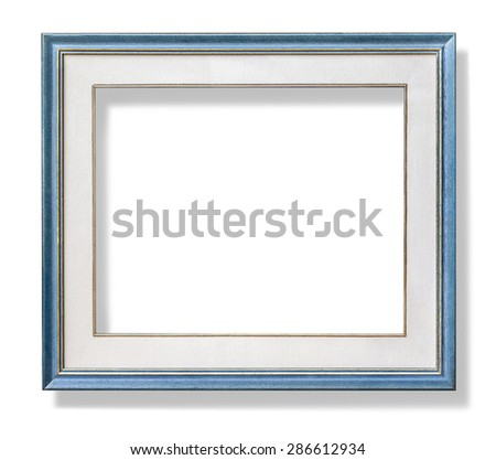 wooden blue frame with mount. with clipping path - stock photo