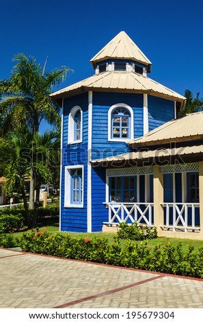 Wooden blue houses, Caribbean Islands  - stock photo