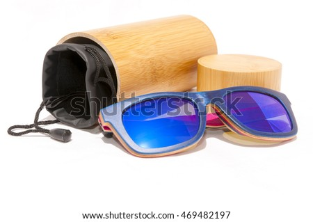 Wooden blue sunglasses kit. Summer fashion style