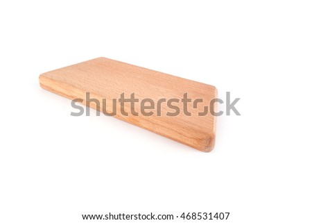 Wooden board for cutting on white background
