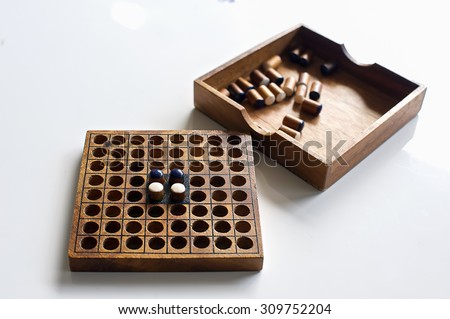 wooden board game - stock photo