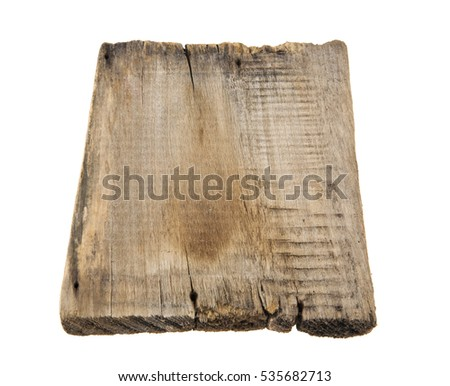 wooden board isolated on white background closeup