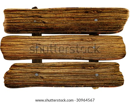 wooden board isolated white color - stock photo
