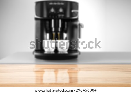 wooden board place and coffee machine