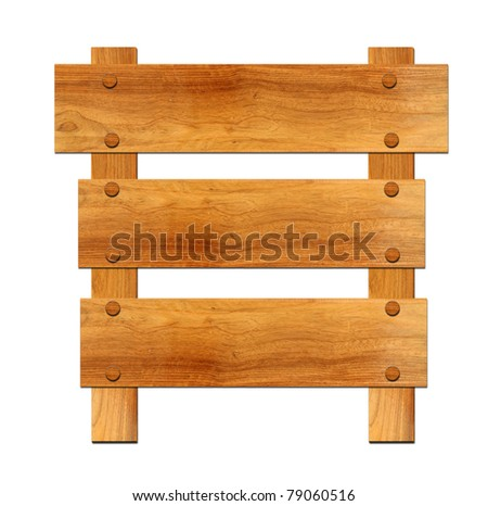 Wooden board sign isolate on white - stock photo