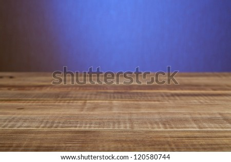 wooden board with blue space - stock photo