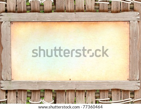 wooden board with old brawn paper - stock photo