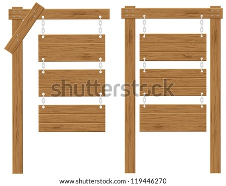 wooden boards signs illustration isolated on white background