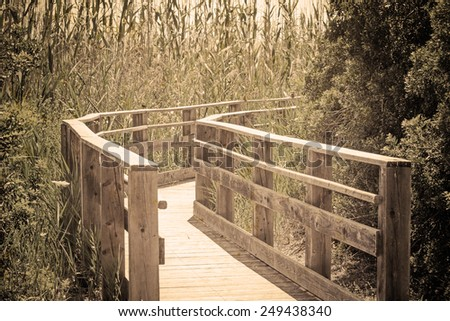 """wooden boardwalk through the park. Processed for """"vintage effect"""" - stock photo"""