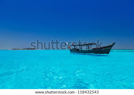 wooden boat in stunning turquoise water