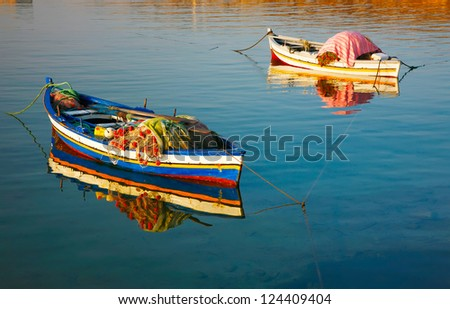 Wooden boats,hammamet tunisia - stock photo