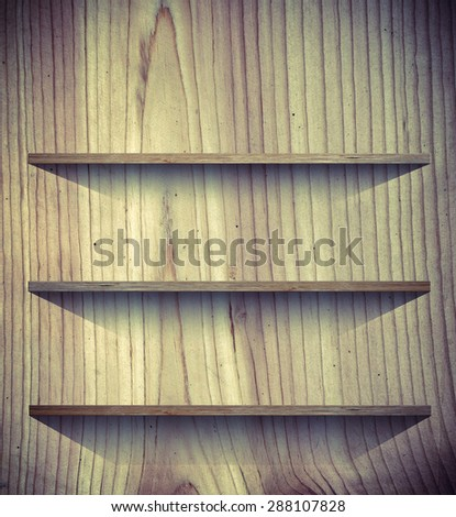 Wooden book Shelf background - vintage effect style - stock photo