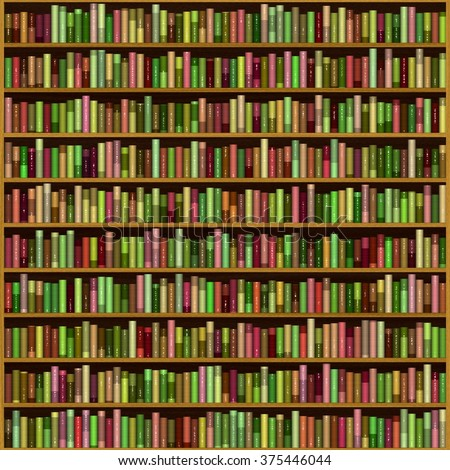 Wooden bookcase full of different colourful books / illustration
