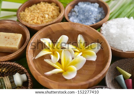 wooden bowl of color sea salt with ,candle ,soap ,oil , spring flower on board