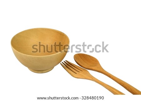 Wooden bowl spoon and fork isolated on white background - stock photo