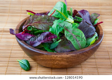 Wooden bowl with chard, spinach and lettuce - stock photo