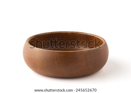 Wooden bowl with clipping path - stock photo