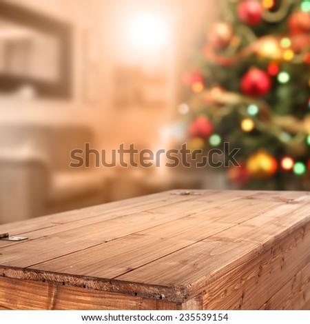 wooden box and xmas tree  - stock photo