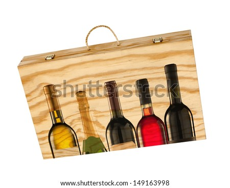 Wooden box for bottles of wine on white (with clipping paths) - stock photo