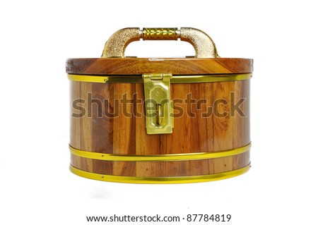 wooden box isolated on white background - stock photo
