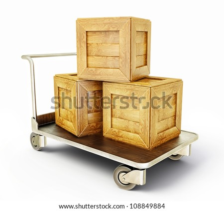 wooden box isolatede on a steel cart - stock photo