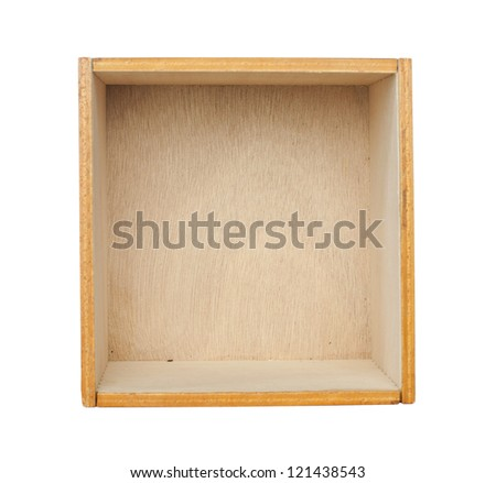 Wooden box of cedar wood. White isolated