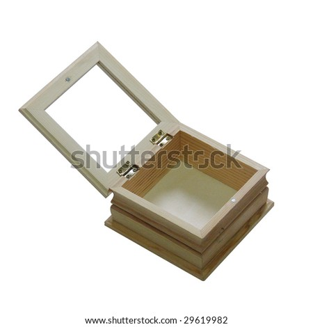 wooden box on isolated white background