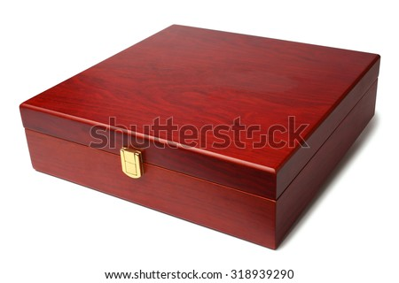 Wooden box on white background - stock photo