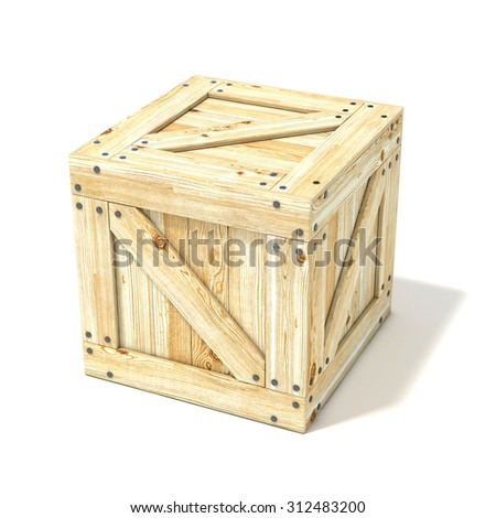 Wooden box. Side view. 3D render illustration isolated on a white background - stock photo