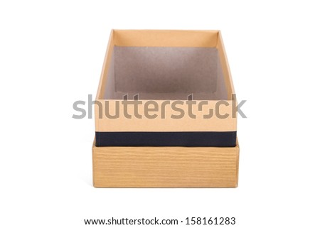 Wooden box, side view, isolated on white background.