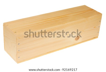 Wooden box to transport a bottle of wine, isolated against background