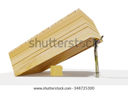 Wooden box trap with cheese - stock photo