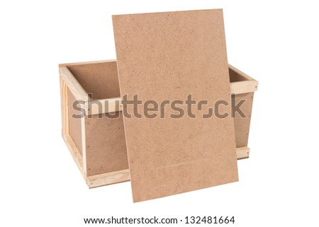 wooden box with a lid, on a white background