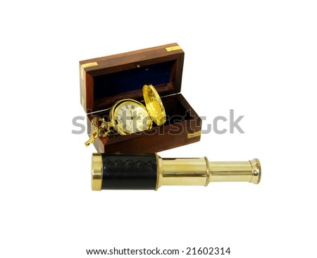 Wooden box with brass corner inlays, Gold pocket watch with a metal chain, Telescoping telescope used to see distances