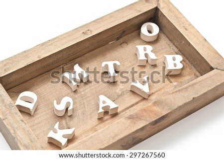 Wooden box with letters