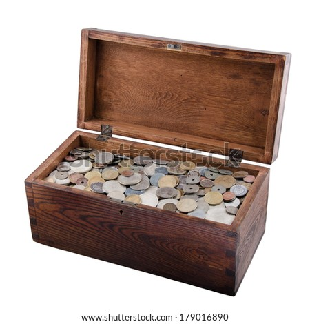 Wooden Box With Old Coins