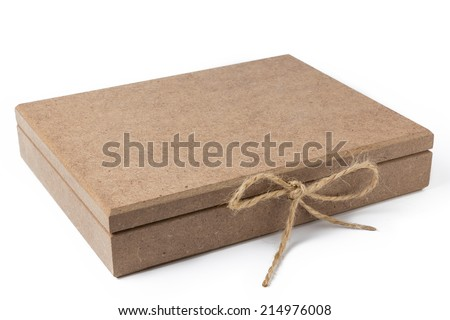 Wooden Box With Rope Ribbon - stock photo