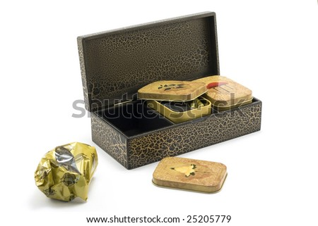 Wooden box with tea insulated not white background