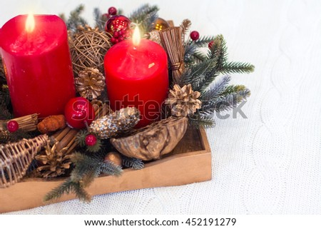wooden box with vintage christmas decoration from above on the white background - Wooden Box Christmas Decorations